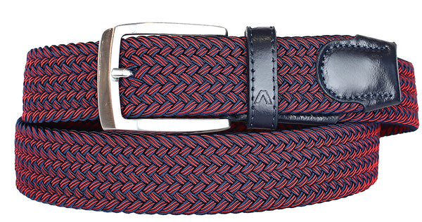 ALBERTO BRAIDED MULT RED/NAVY STRETCH