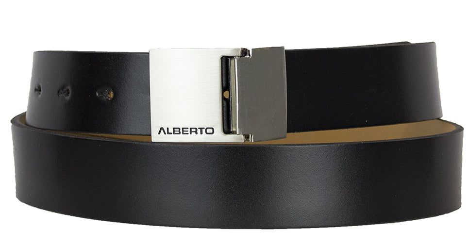 ALBERTO BLACK DRESS BELT LOGO