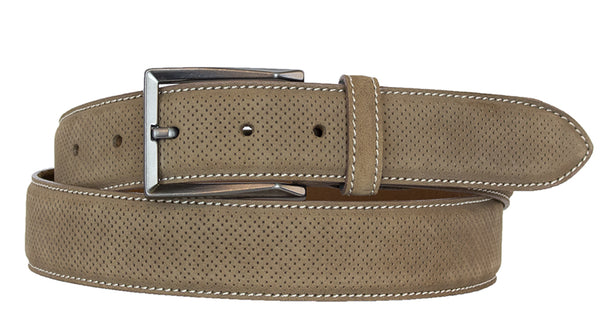 ALBERTO NUBUCK SUEDE PIN HEAD PATTERN BELT-TAN