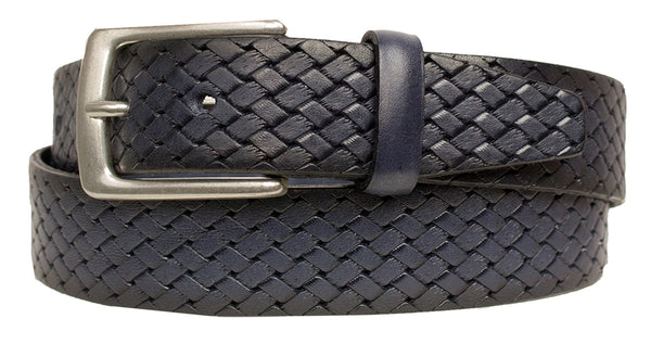 ALBERTO BASKET WEAVE LEATHER BELT NAVY 8323