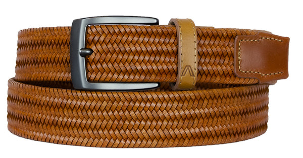 ALBERTO BRAIDED STRETCH LEATHER BELT TAN