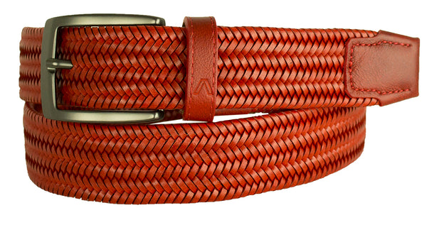 ALBERTO BRAIDED STRETCH LEATHER BELT RED 8405