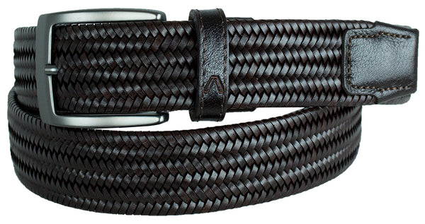 ALBERTO BRAIDED STRETCH LEATHER BELT BLACK 8405