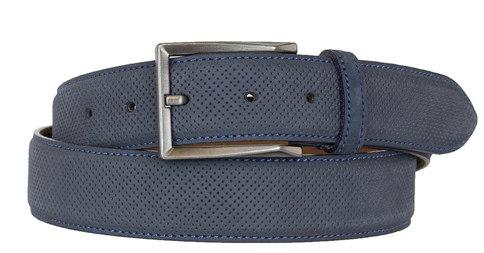 ALBERTO NUBUCK SUEDE PIN HEAD PATTERN BELT-BLUE