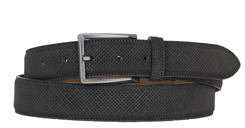 ALBERTO NUBUCK SUEDE PIN HEAD PATTERN BELT-BLACK