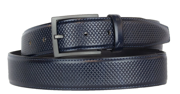 ALBERTO GRID PATTERN NAVY LEATHER BELT