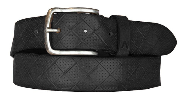 ALBERTO DIAMOND PATTERN LEATHER BELT BLACK