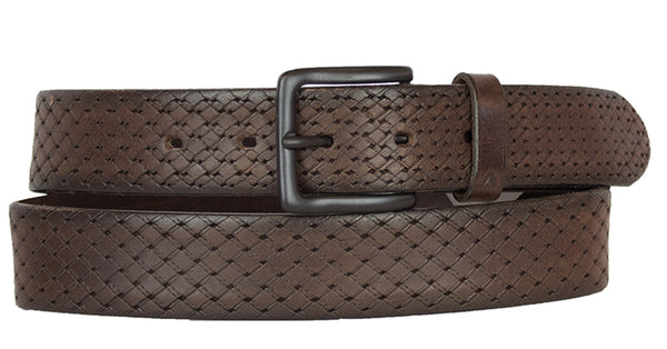 ALBERTO PATTERN BROWN LEATHER BELT