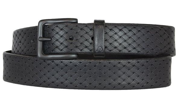 ALBERTO PATTERN BLACK LEATHER BELT