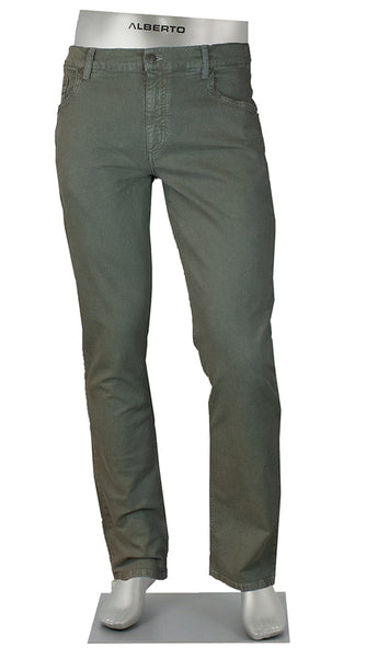 STONE COTTON/LINEN 4 WAY STRETCH OLIVE