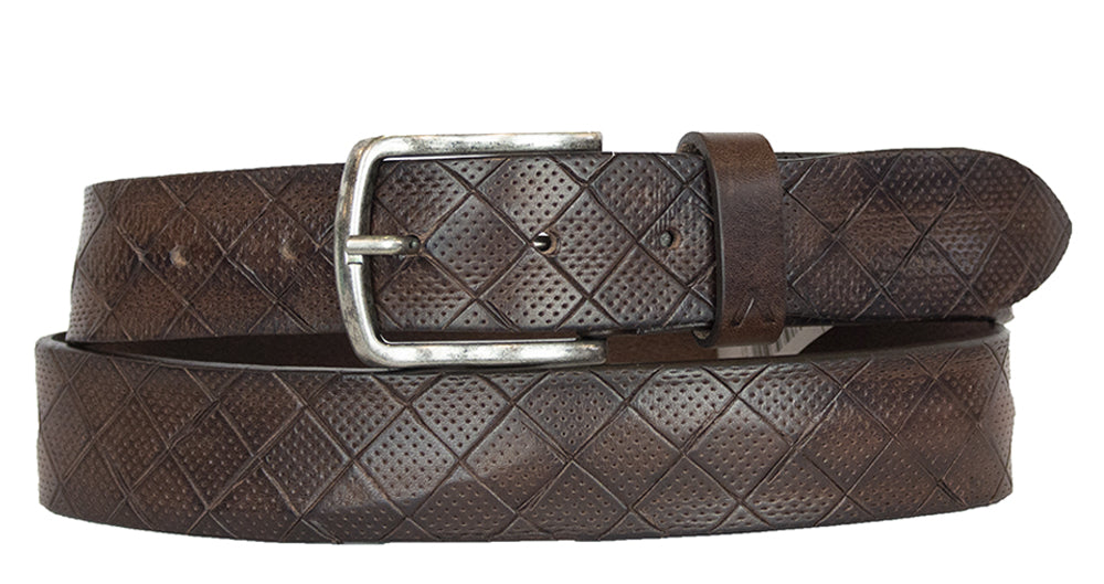 ALBERTO DIAMOND PATTERN LEATHER BELT BROWN