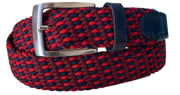 ALBERTO BRAIDED MULTICOLR BELT RED/NAVY