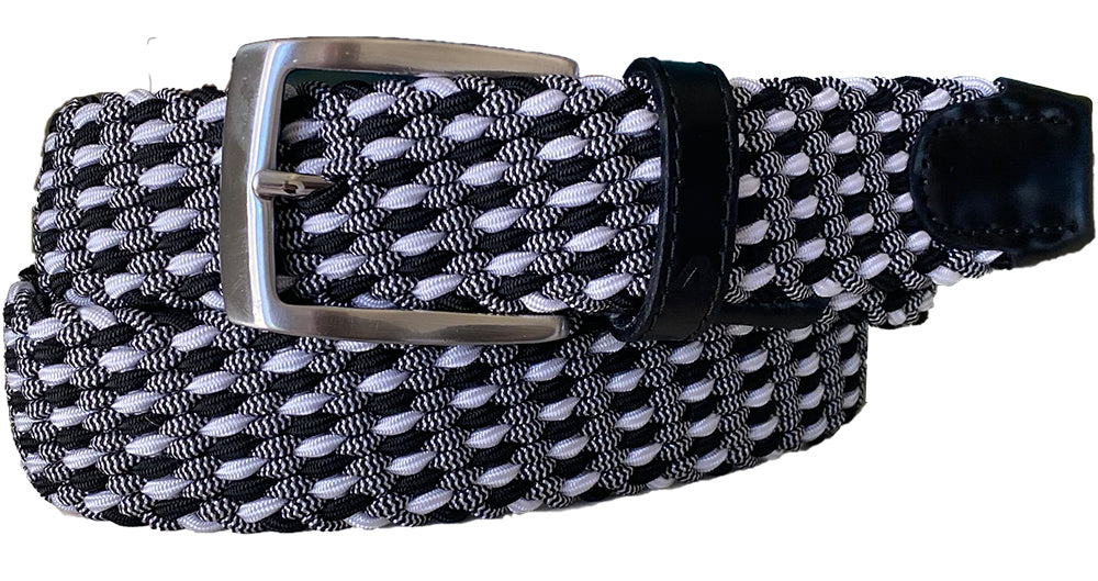 ALBERTO BRAIDED MULTICOLR BELT GREY/BLACK/WHITE