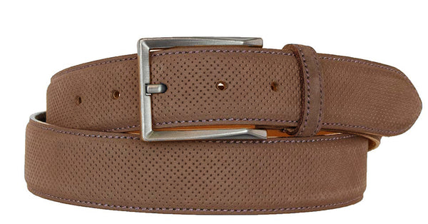 ALBERTO NUBUCK SUEDE PIN HEAD PATTERN BELT COGNAC