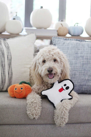 Patchwork Pet Halloween and Holiday Plush dog toys flat ghost