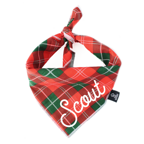 2019 Holiday and Christmas gift guide for goldendoodles and goldendoodle lovers ripley and rue tartan plaid dog bandana christmas and holiday Patchwork Pet Dog blog
