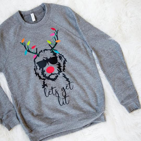 Lets get lit bubs and bettys sweatshirt  holiday 2019 christmas and holiday gifts for goldendoodles and goldendoodle lovers patchwork pet dog blog