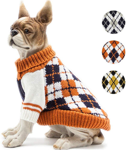 fall gift guide for dog lovers fall orange plaid  sweater for dogs
