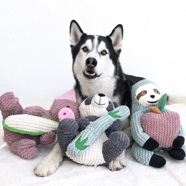Interactive dog toys sydney the sloth patchwork pet dog toy husky with toys