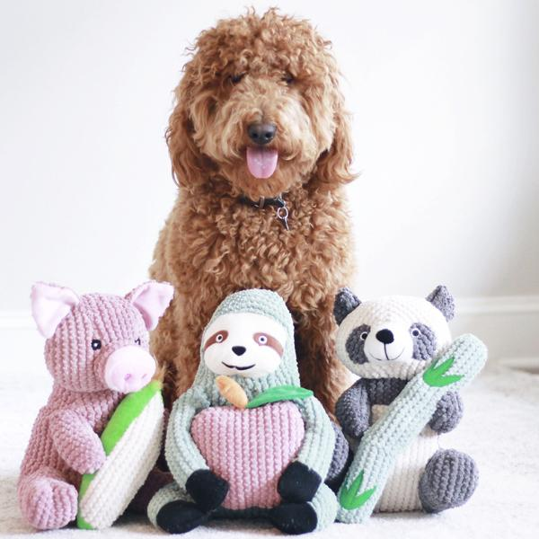 Interactive dog toys sydney the sloth patchwork pet dog toy goldendoodle dog with toys