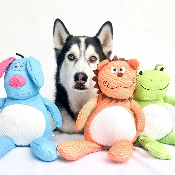 Patchwork Pet Plush Doggle, Froggle and Lion Dog Toys with Husky Dog
