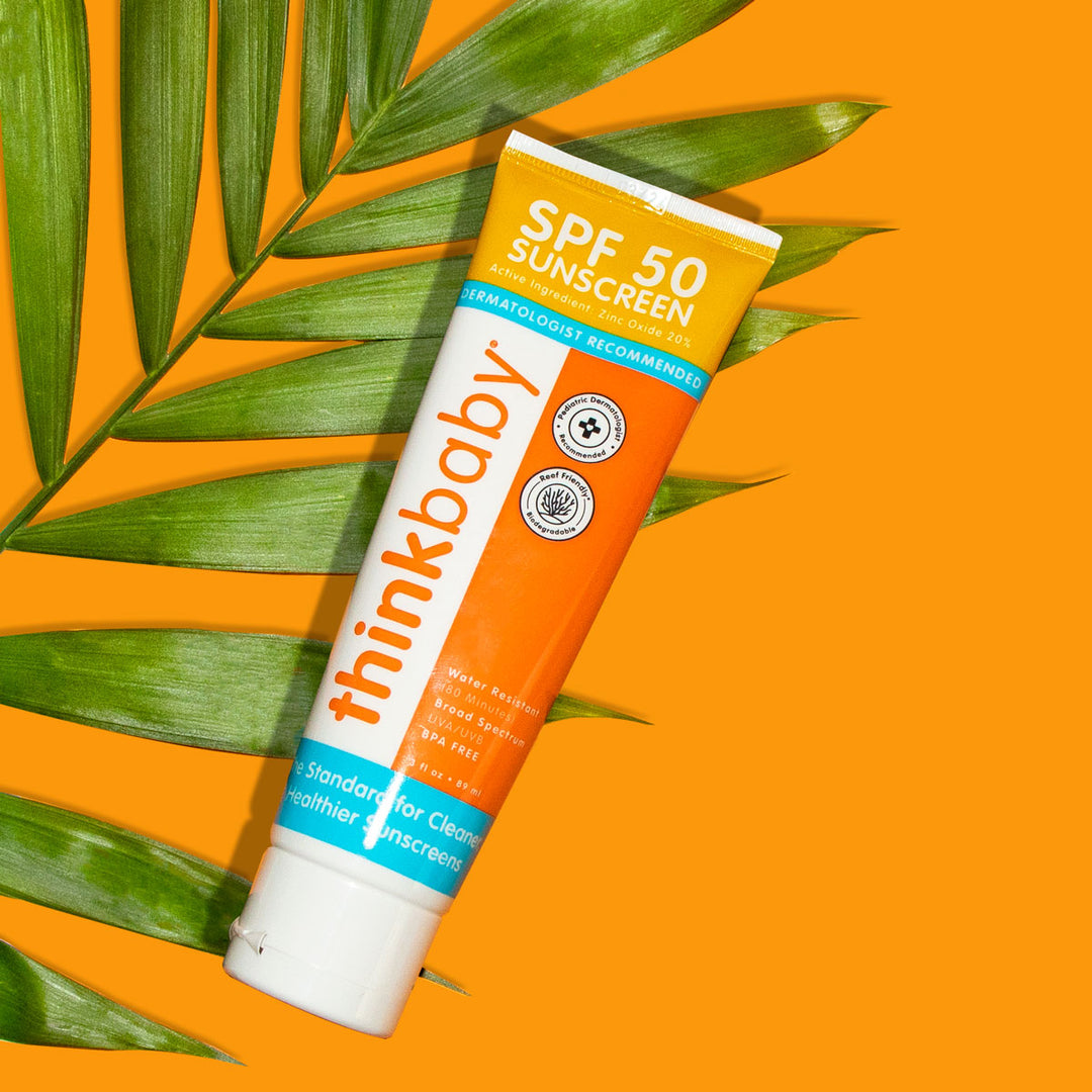 Thinkbaby Sunscreen on Striped Background
