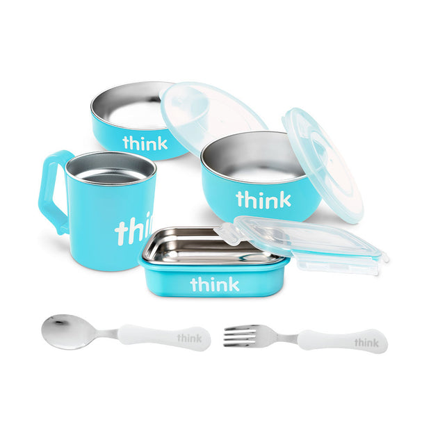 The Complete BPA Free Feeding Set with Fork & Spoon - Lt. Blue