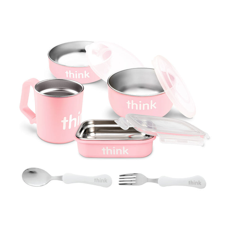 The Complete BPA Free Feeding Set with Fork and Spoon - Pink