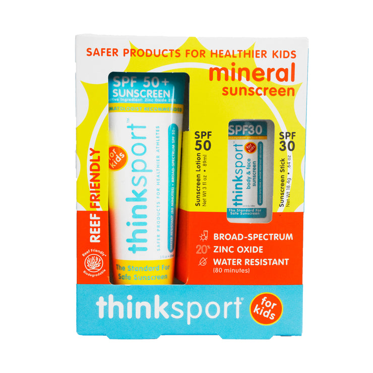 Thinksport Kids Safe Sunscreen Combo Pack: 3oz SPF 50 Sunscreen + SPF 30 Sunscreen Stick