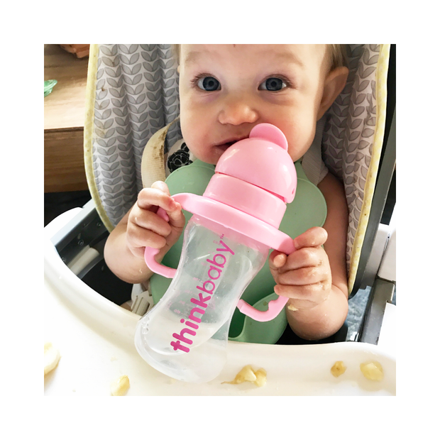 Converts Sippy Cup to Straw Bottle - Pink