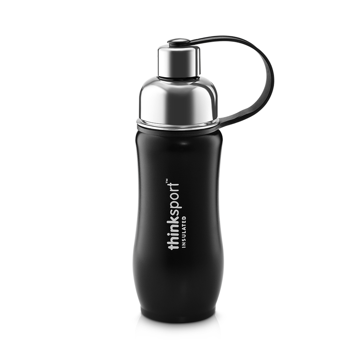 Thinksport Insulated Sports Bottle - 12oz (350ml) - Powder Coated - Black