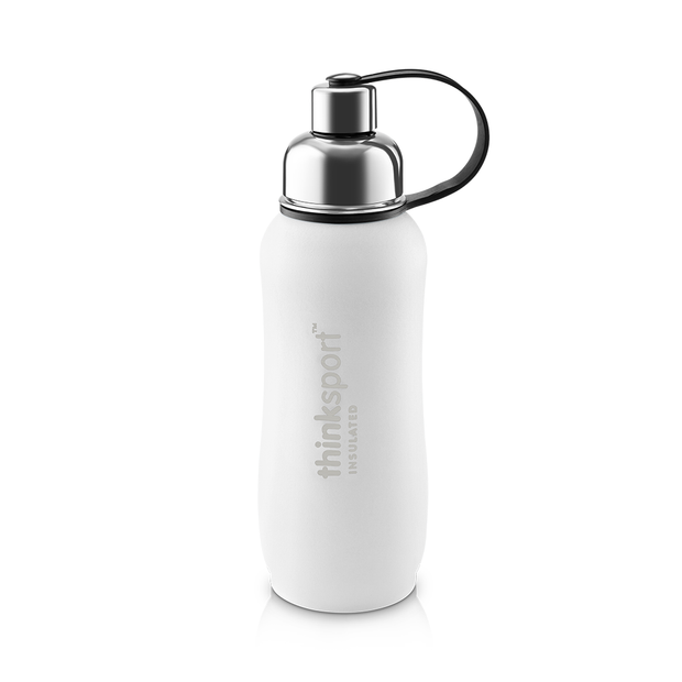 Thinksport Insulated Sports Bottle - 25oz (750ml) - Powder Coated - White