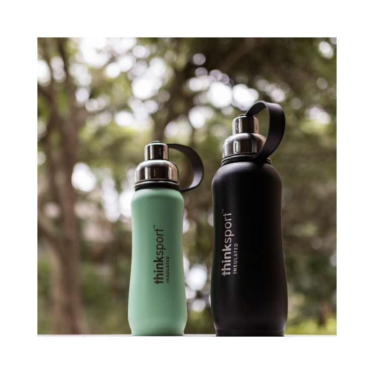 Thinksport Insulated Sports Bottle - 25oz (750ml) - Powder Coated - Black