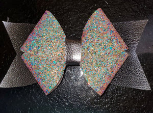 Light Pink Glitter and Silver Hairbow