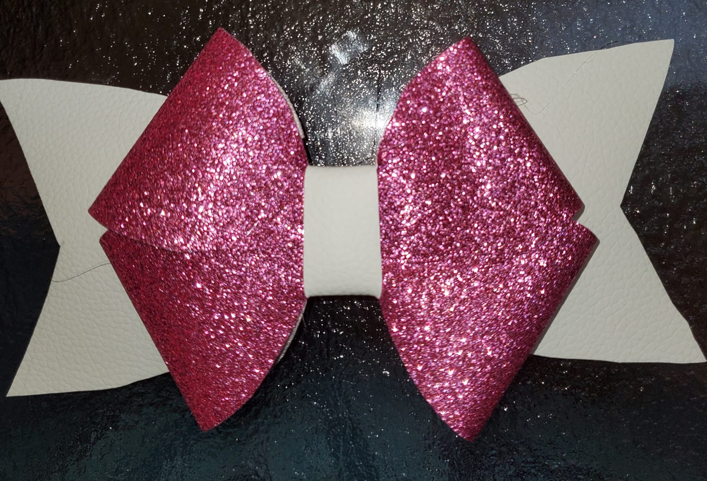 Dark Pink Glitter and White Pinwheel Hairbow