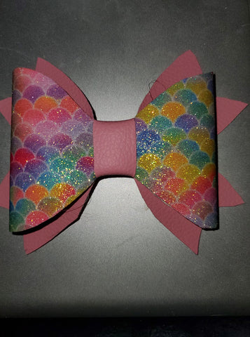 Pastel Colored Mermaid Scales with Pink Double Tail Hairbow