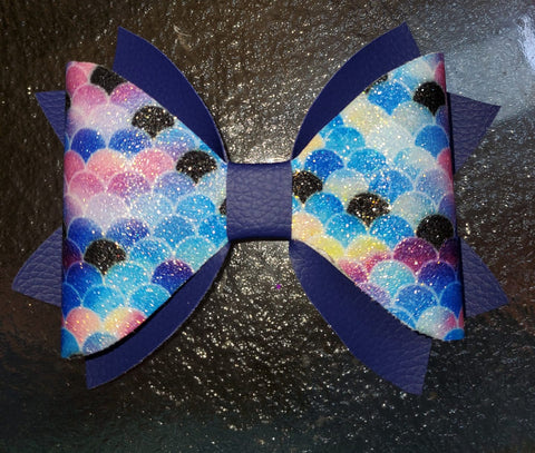 Mermaid Scales Mixed Blues and Assorted Colors with Dark Blue Double Tail Hairbow