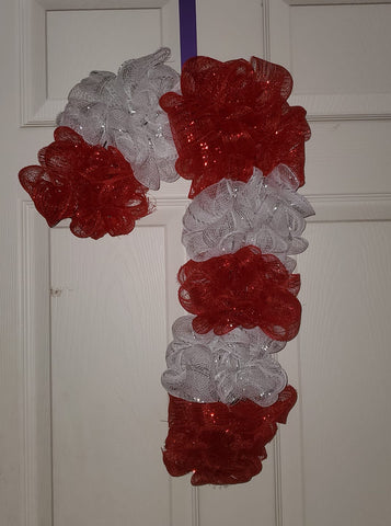 Deco Mesh Candy Cane Wreath