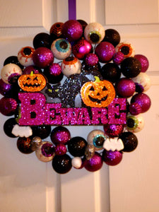 Halloween Ornament Beware Wreath