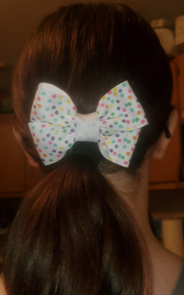 White Ribbon With Printed Pastel Polka Dots Hairbow/Hair Accessory
