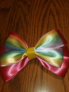 Pink and Rainbow Satin Hairbow On A French Barrette