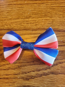 Red/White and Blue Hair Bow on a Ponytail