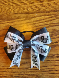 Black and White Music Note Ribbon Hairbow / Hair Accessory