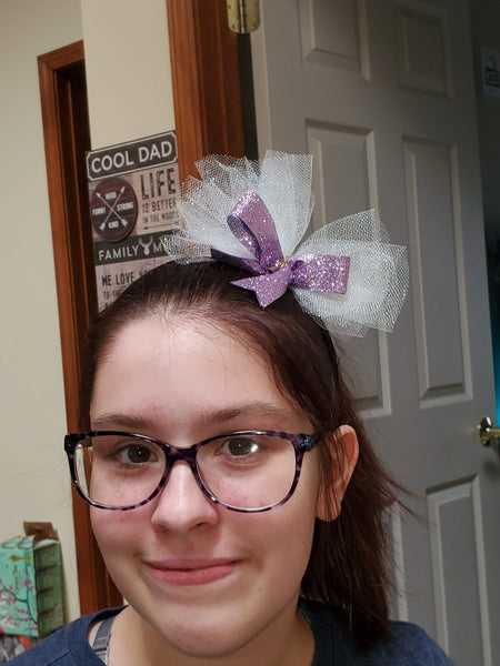 Black Headband with Purple Glitter Hair Bow and White Tulle
