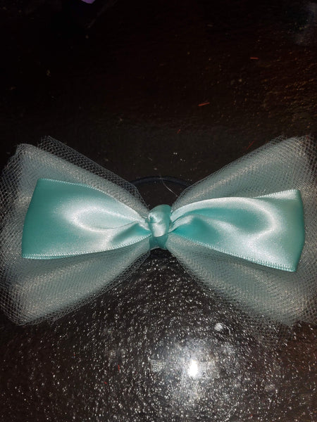 Mint Green Tulle Bow With Satin Mint Green Bow Ponytail