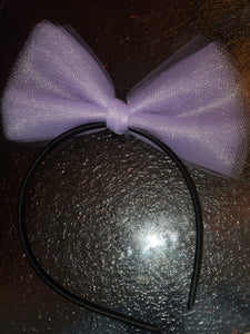 Black HeadBand With Large Purple Tulle Hair Bow