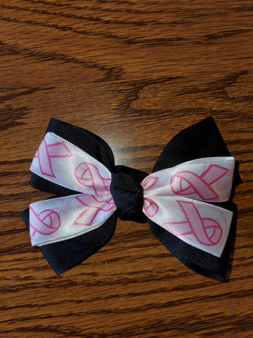 Black/White/Pink Breast Cancer Awareness Hair Bow/Hair Accessory