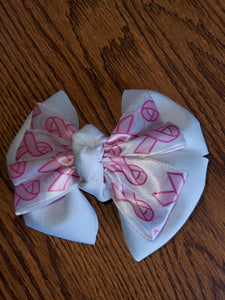 White and Pink Breast Cancer Awareness Hair Bow/Hair Accessory