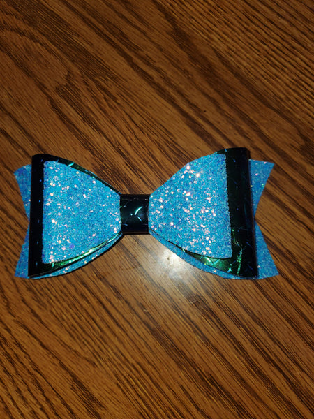 Glitter Light Blue/Shiny Green Mermaid Scale Faux Leather Hairbow