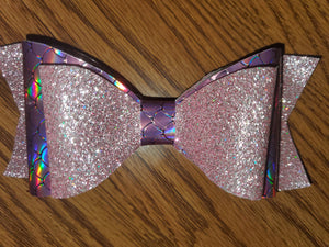 Shiny Glitter Pink/Holographic Pink Mermaid Scale Faux Leather Hairbow